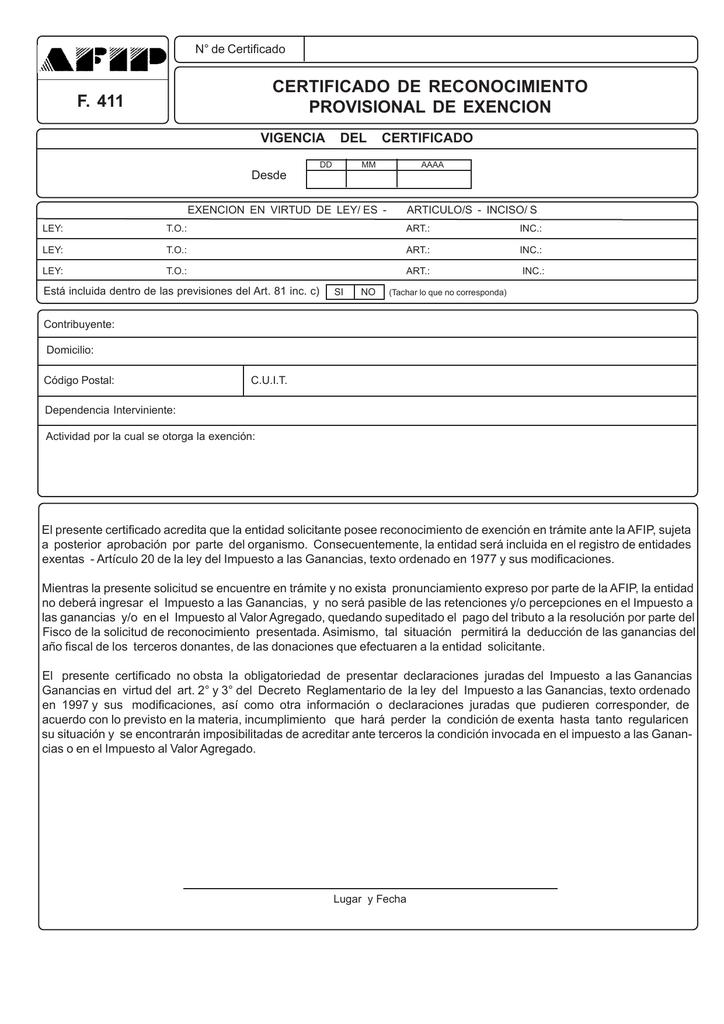 Cómo es el registro del certificado de exención