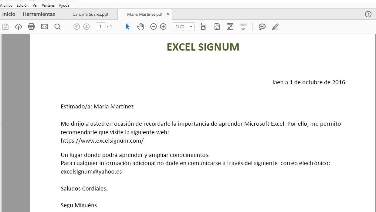 Creación de una serie de cartas en Excel