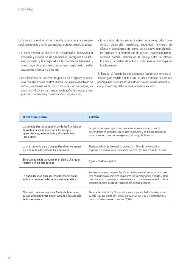 La auditoría interna se centra poco en las medidas de valor que se aplican en el exterior