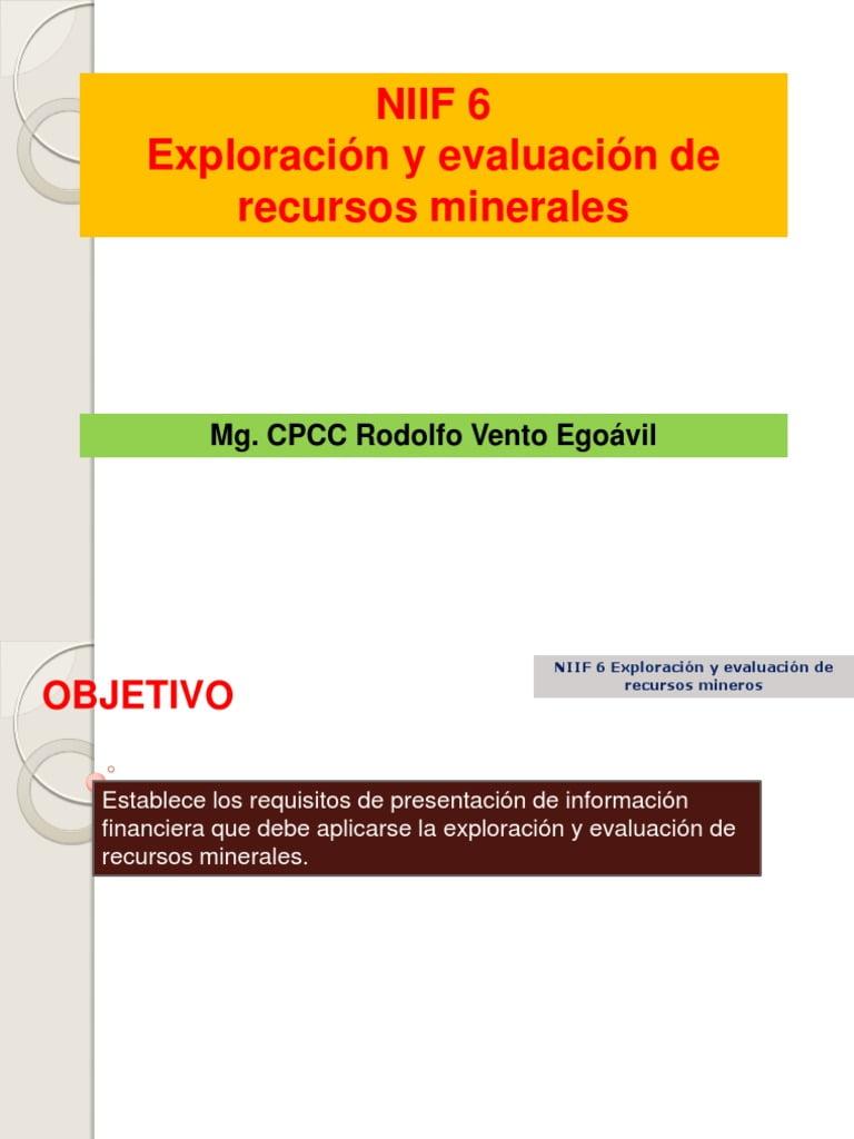 NIIF 6: Exploración y evaluación de los recursos minerales