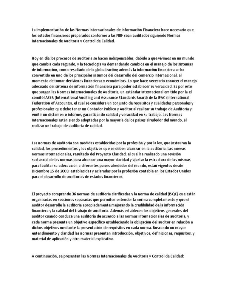 Normas de auditoría aclaradas: Formación de una opinión y presentación de informes sobre los estados financieros – Parte 1